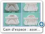 Gain d'espace : assez faible en post., sans doute à cause des couronnes soudées 36/37,<br />et aussi parce qu'on n'est pas loin de la moyenne :54/55 mm .<br /><br />Le redressement canin augmente la distance inter-canine de 8 mm. soit 25 mm.<br /><br />On est à la moyenne qui est : 24 mm. (+- 2 mm.)<br /><br />Le gain total de longueur d'arcade, calculé avec la formule de Ricketts est de 9 à 10 mm,<br />ce qui correspond aux mesures sur modèle.